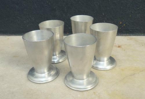 lote de 5 copas servilleteras antiguas en aluminio