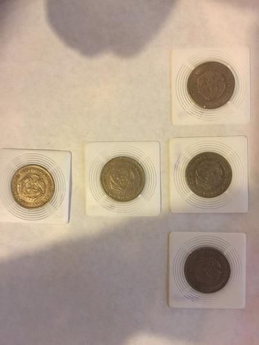 lote de 5 monedas de 50 centavos antiguas de colombia