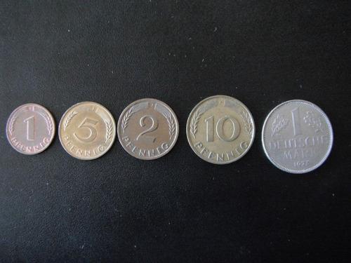 lote de 5 monedas de alemania: 1 marco, 1, 2, 5, 10, penning