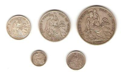 lote de 5 monedas  de plata