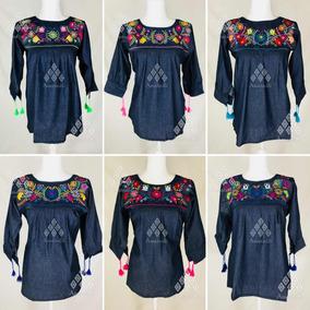 985fa6436 Lote De 6 Blusas Artesanales Bordados Mexicanos Mezclilla