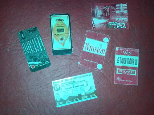 lote de 6 folletitos dentro de cigarrillos winston lucky 80s