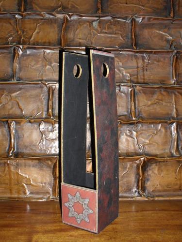 lote de 6 hermosos porta botellas de madera !!! de coleccion
