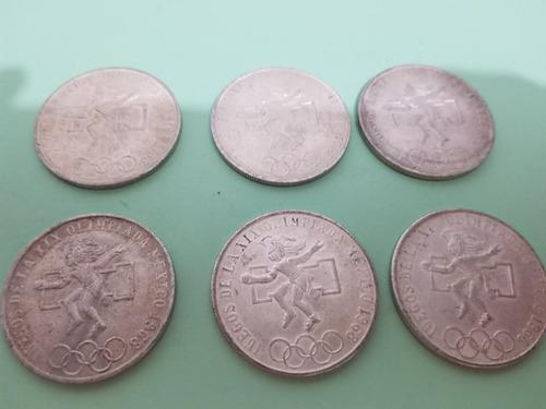 lote de 6 modedas 25 pesos olimpicas 1968 plata
