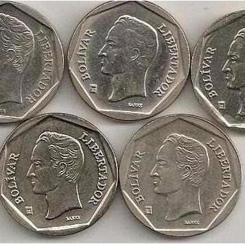 lote de 6 monedas 50 bolivares 1998-99-2000-01-02 y 04