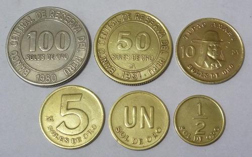 lote  de 6  monedas de los años 80
