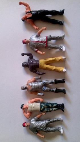 lote de 6 muñecos antiguos de 100 % 100  lucha gomas retro