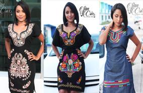 4d05082f4 Lote De 6 Vestidos Artesanales Negros Bordados - Chiapas