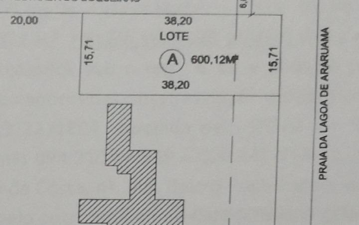 lote de 600 m2 de frente p/ lagoa