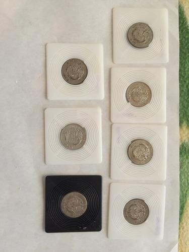 lote de 7 monedas de 20 centavos antiguas de colombia 1953