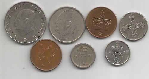 lote de 7 monedas de noruega