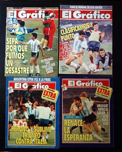 lote de   7 revistas  el gràfico  del  mundial 1990