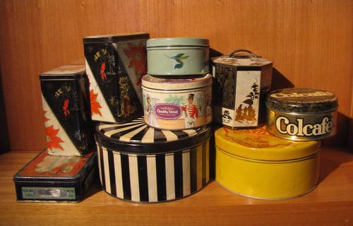 lote de 9 latas antiguas de té, galletitas, turrones, café
