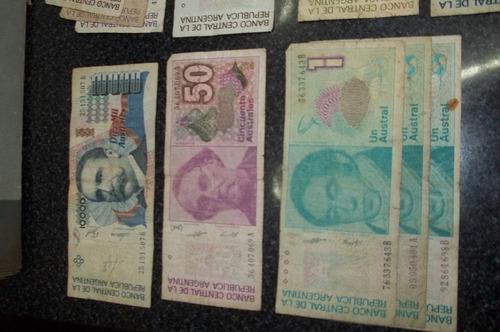 lote de billetes australes diferentes denominacion   - munro