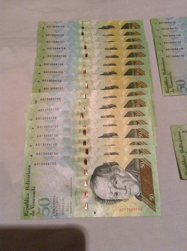 lote de billetes de 50 bolívares cono monetario viejo 3vrd