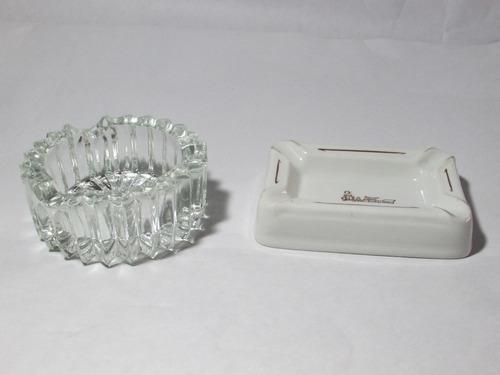 lote de cenicero marca  dresden y cenicero de vidrio.