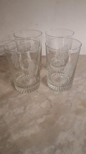 lote de copas de cristal esmerilado tallado antiguas
