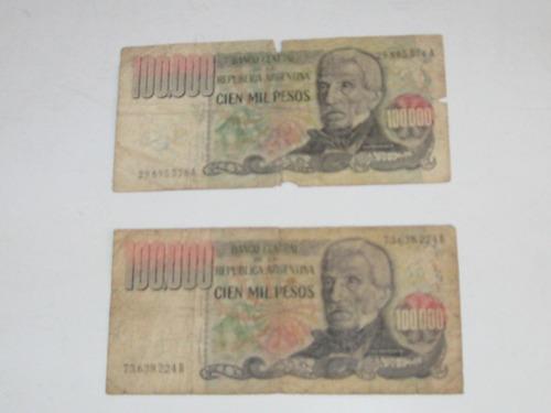 lote de dos billetes de $ 100000