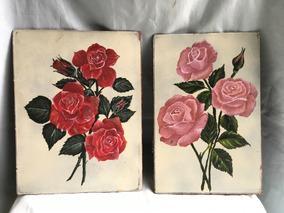 Lote De Dos Dibujos De Rosas Pintadas A Mano Codigo 384