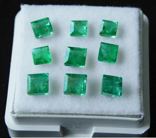lote de esmeraldas colombianas 100% natural +4ct 3-4mm 9pcs