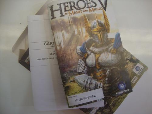 lote de jogos e caixa e manual para pc heroes v magic