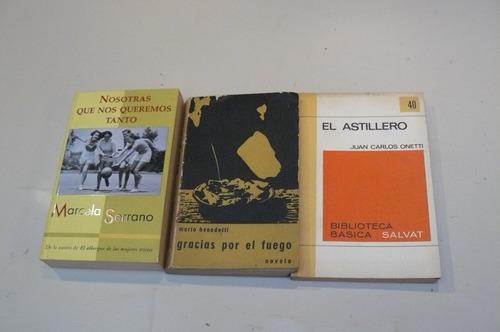 lote de libros de j.c. onetti, m. serrano y m. benedetti