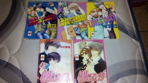 lote  de mangas yaoi, love stage 1-3, junjou romantica 1-2