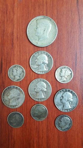 lote de monedas americanas de plata antiguas