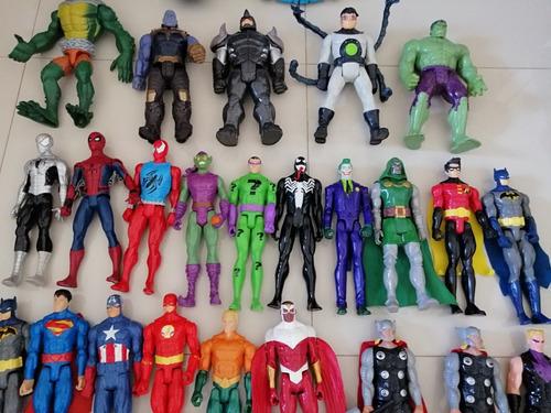 lote de muñecos usados super heroes y luchadores