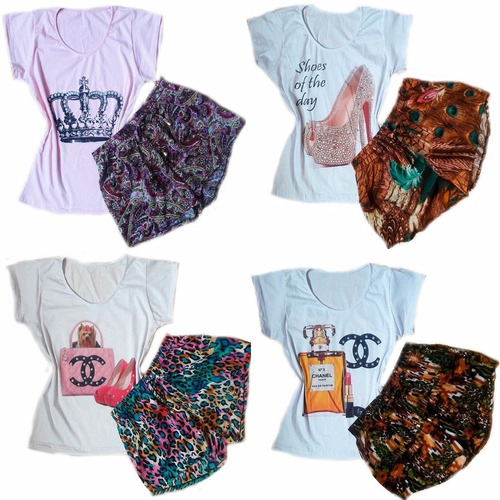 lote de quatro conjuntos feminino atacado tshirt  short