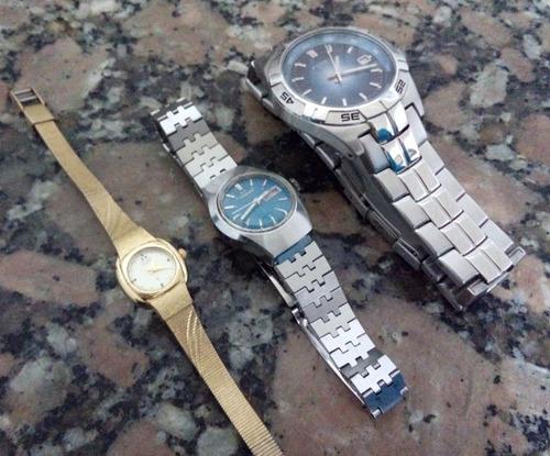 lote de relógios fossil masc e citizen femin funcionando