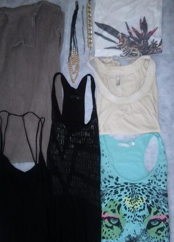 lote de ropa  5 remeras (ayres muaa ver) polera y collar
