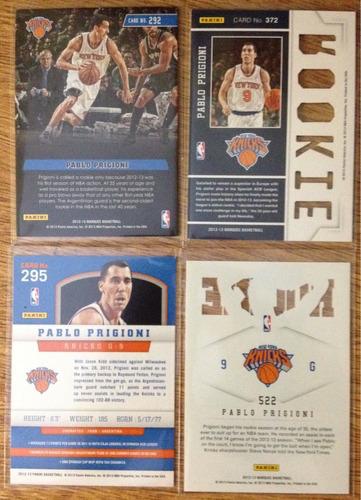 lote de tarjetas trading cards nba - pablo prigioni knicks