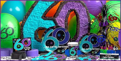 lote decoração festa completa  60 anos c/37 itens