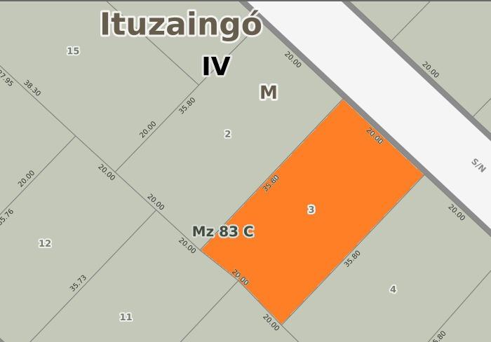 lote en udaondo - ituzaingo norte - ref. 870