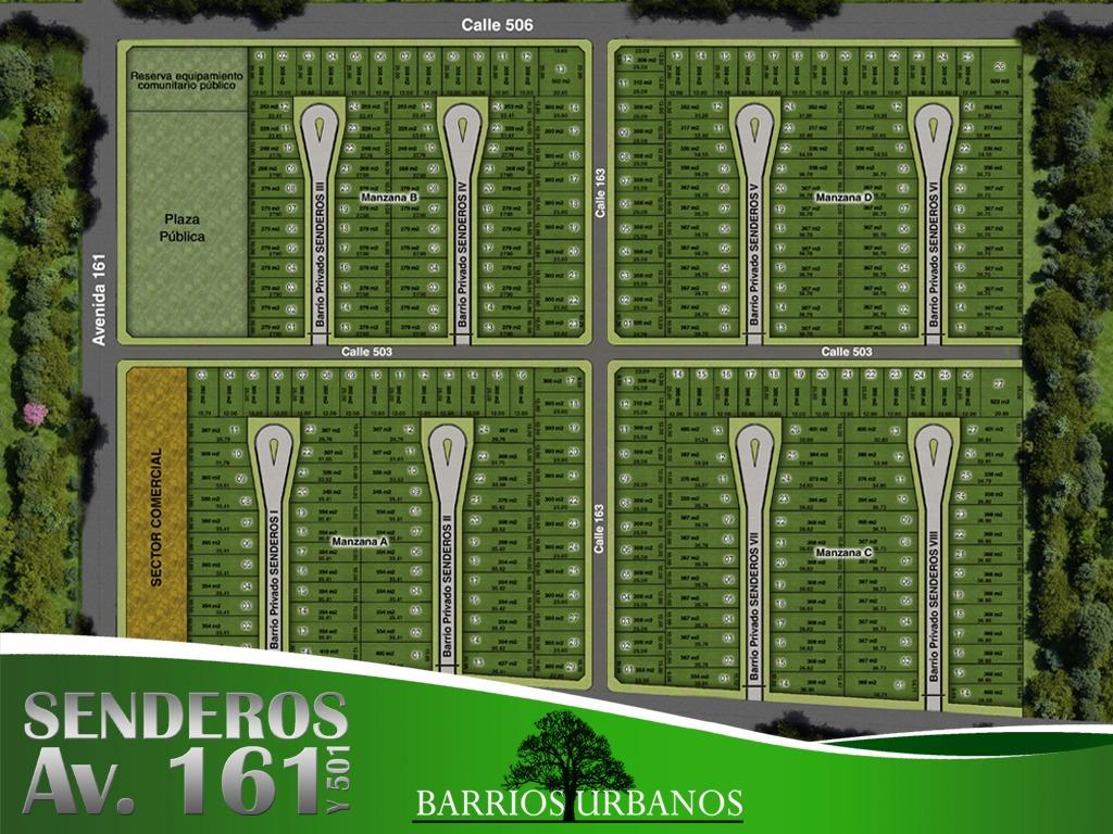 lote en venta   501y161 ( senderos) mza. abcd - lotes 300mts