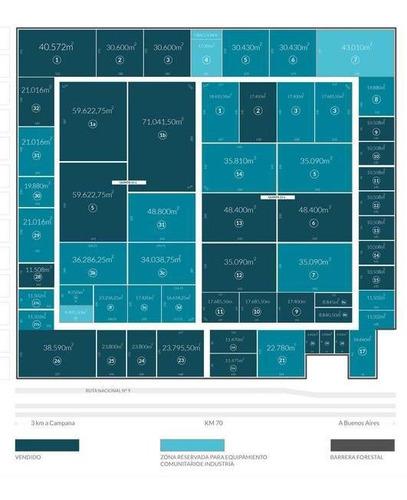lote en venta en parque industrial campana 35.810 m2
