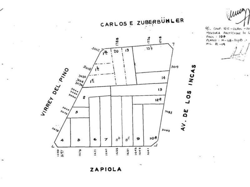 lote esquina av. de los incas al 3000 900 m2 de tierra apto 3850 m2 vendibles planos aprobados
