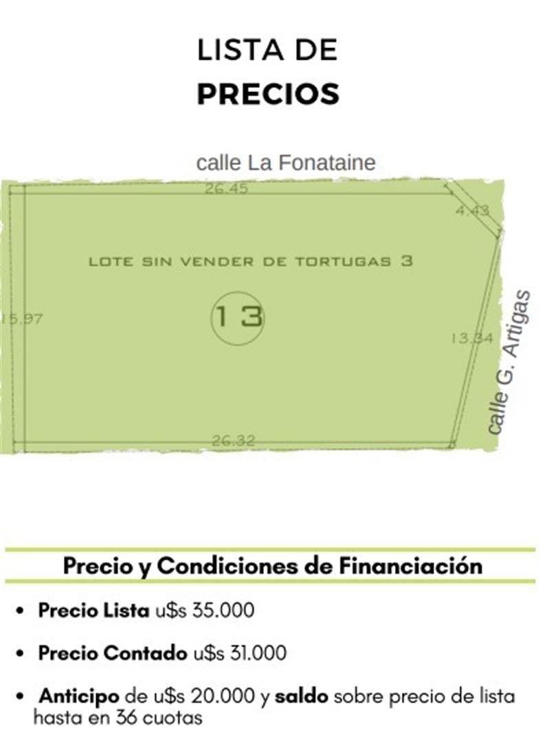 lote esquina de 400 m2 - ultimo loteo tortugas 3