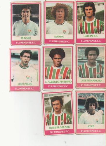 lote: futebol cards ping pong fluminense, com 8 figurinhas