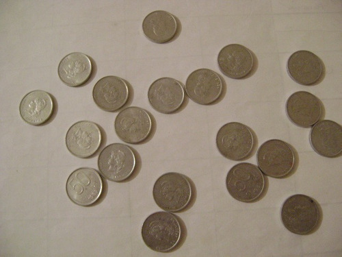 lote i. 91 monedas de argentina 10c, 50 c,