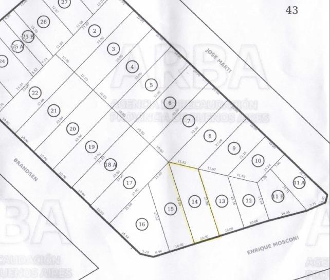 lote ideal constructor de 305 mts²  sobre avda mosconi