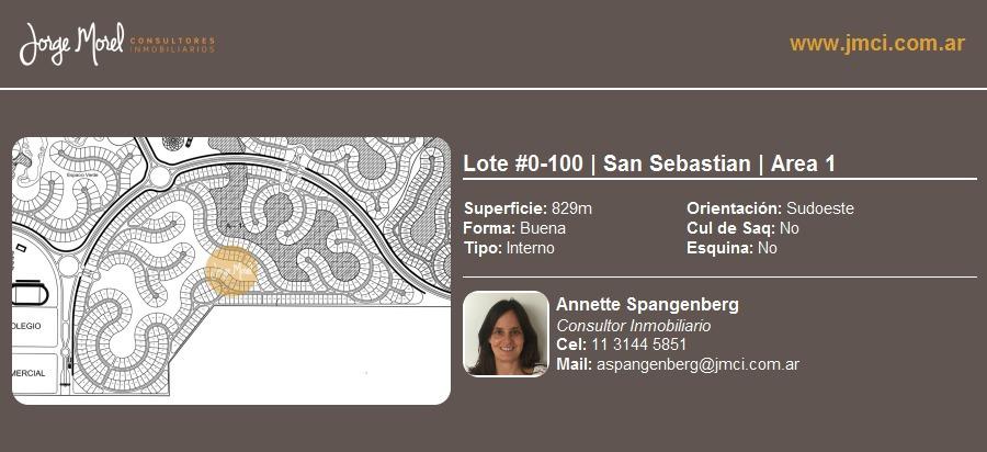 lote interno #0-100 - san sebastian - area 1 - 829m2 #id 33