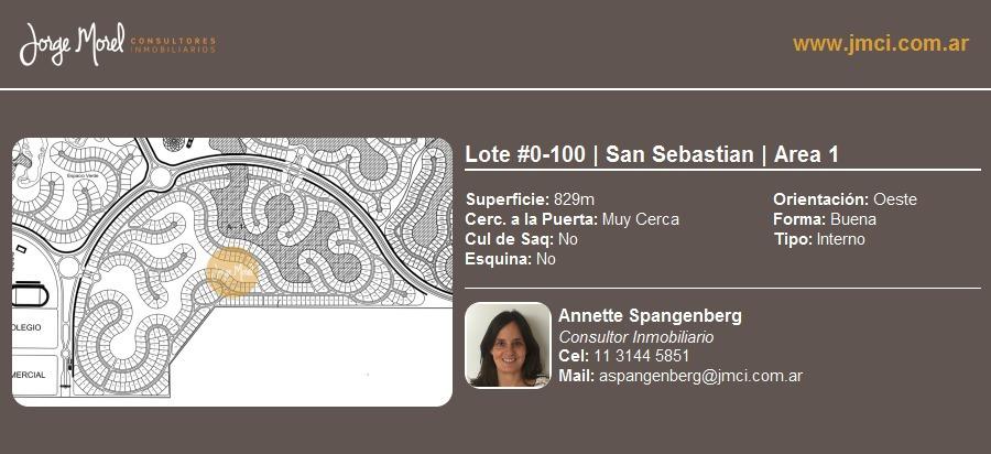 lote interno #0-100 - san sebastian - area 1 - 829m2 #id 74