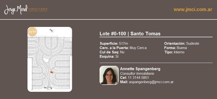 lote interno #0-100 - santo tomas - 517m2 #id 20495