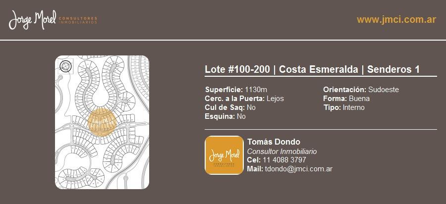 lote interno #100-200 - costa esmeralda - senderos 1 - 1130m2 #id 10236