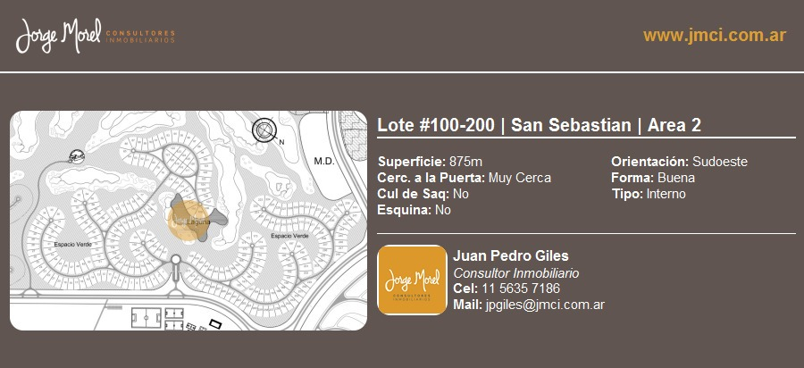 lote interno #100-200 - san sebastian - area 2 - 875m2 #id 660