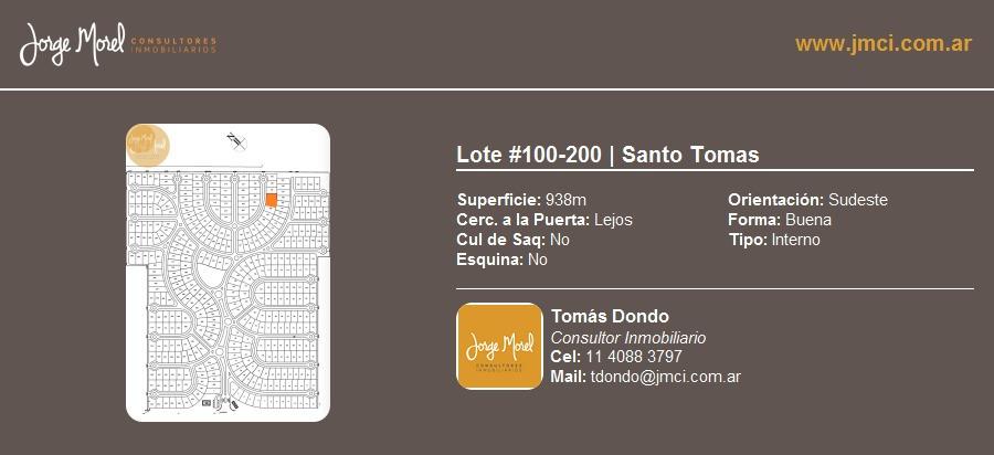 lote interno #100-200 - santo tomas - 938m2 #id 20656