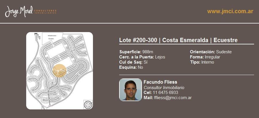 lote interno #200-300 - costa esmeralda - ecuestre - 988m2 #id 9910