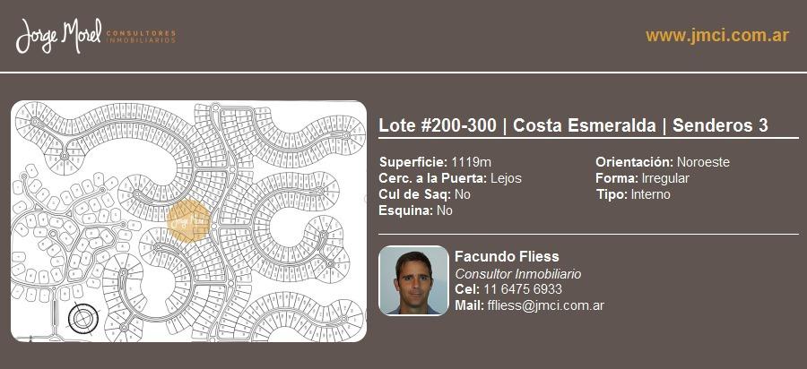lote interno #200-300 - costa esmeralda - senderos 3 - 1119m2 #id 10583